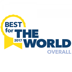 """Certified B Corporation """"Best for the World Award"""" 2017"""